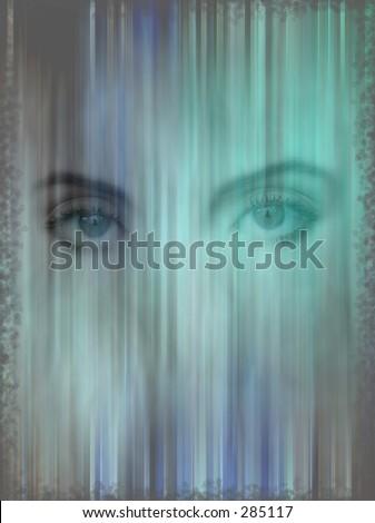 background with lady eyes - stock photo