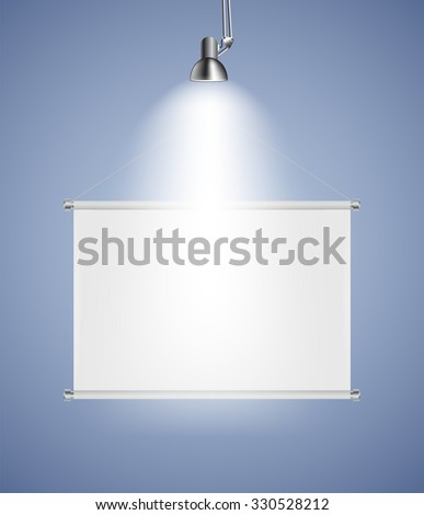 Background with Lighting Lamp and Frame. Empty Space for Your Text or Object.