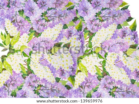 Background with lilac branches.Watercolor illustration.