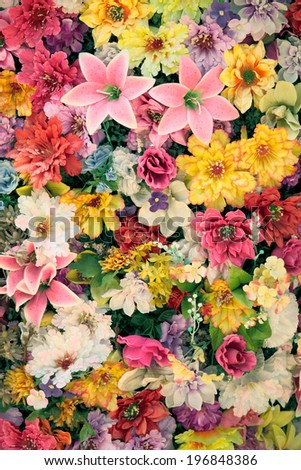 background with lots of colorful flowers - stock photo