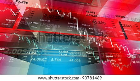 Background with market chart and digits