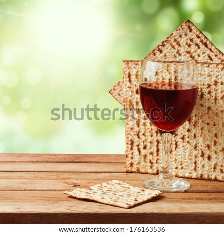 Background with matzo and wine for Jewish Passover celebration - stock photo