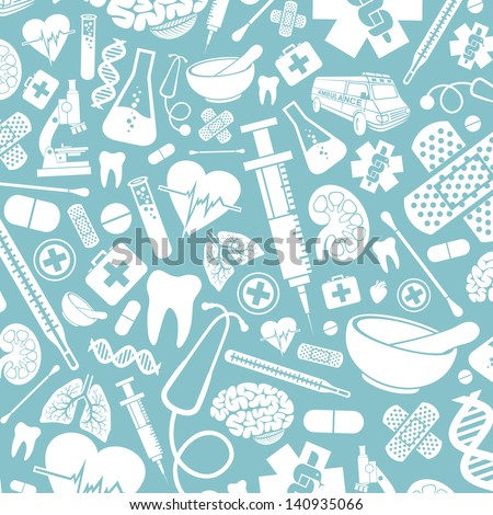 background with medical icons (medical background, medical icon set, human lungs, first aid medical sign, stethoscope, brain, syringe, DNA strand, heart, first aid) - stock photo