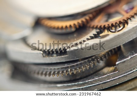 Background with metal cogwheels a clockwork. Conceptual photo for your successful business design. Macro. - stock photo