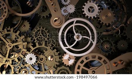 Background with metal cogwheels a clockwork. Macro, extreme closeup clock mechanism - stock photo