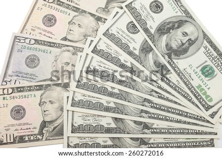 background with money. american dollars isolated on white background