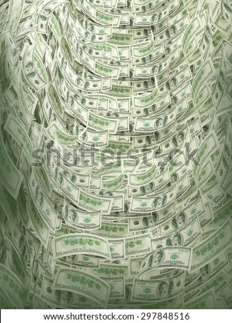 Background with money american hundred dollar bills - stock photo