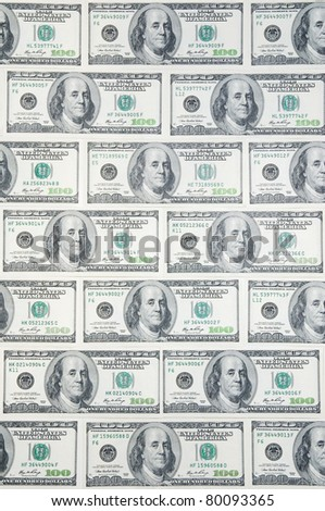 Background with money american hundred dollar bills in the order of bricks - stock photo