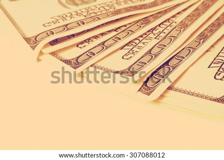 Background with money american hundred dollar bills retro  - stock photo