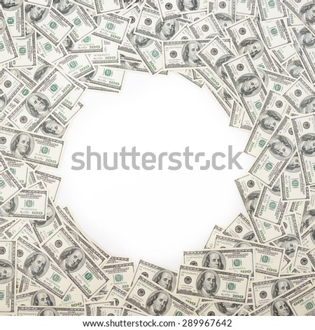 Background with money american hundred dollar bills with copy space inside. Frame of banknotes denominations of 100 dollars - stock photo