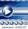 Background with multimedia player controls (buttons). Raster version of the illustration. - stock photo