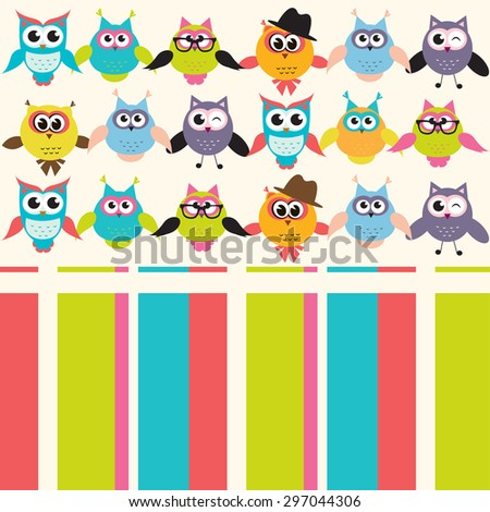 Background with owls. Raster version - stock photo