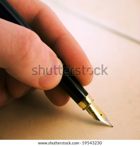 background with pen. color from tungsten lamp - stock photo