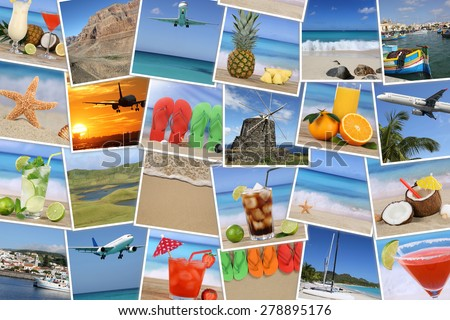 Background with photos from summer vacation, beach, holiday, drinks and sea  - stock photo