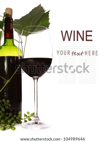 Background with red wine, goblet and green branch - stock photo