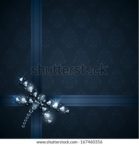Background with ribbons and diamond dragonfly decoration - raster version - stock photo
