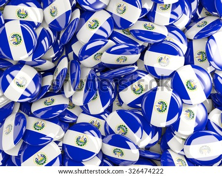 Background with round pins with flag of el salvador - stock photo