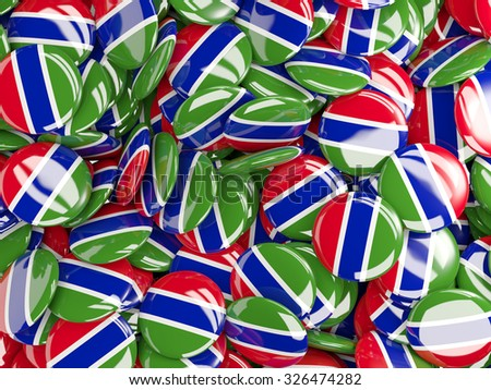 Background with round pins with flag of gambia - stock photo