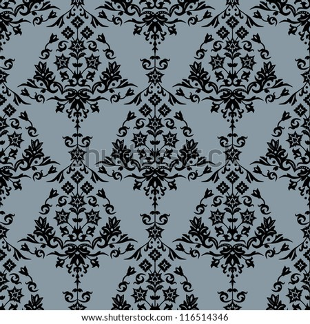 Background with seamless damask pattern in classic style. Vector file in my portfolio.