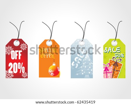 background with set of four christmas sale tag