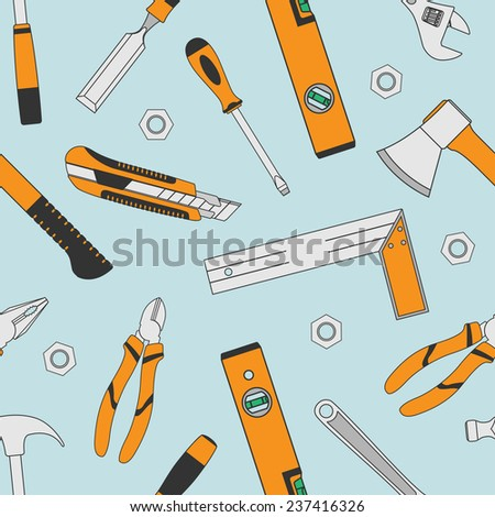 background with set of tools icons, seamless pattern - stock photo