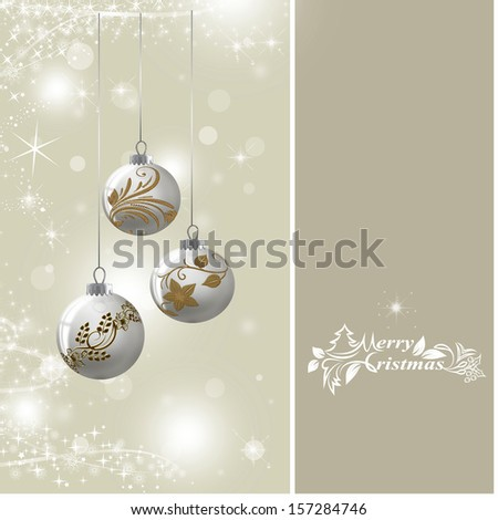 Background with silver Christmas baubles, illustration.