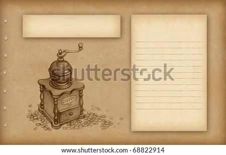 Background with sketch of coffee grinder - stock photo