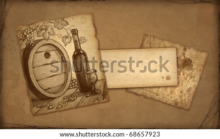 Background with sketch of wine bottle - stock photo