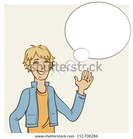 Background with smiling young man and speech bubble. Abstract illustration with personage and text box in cartoon style