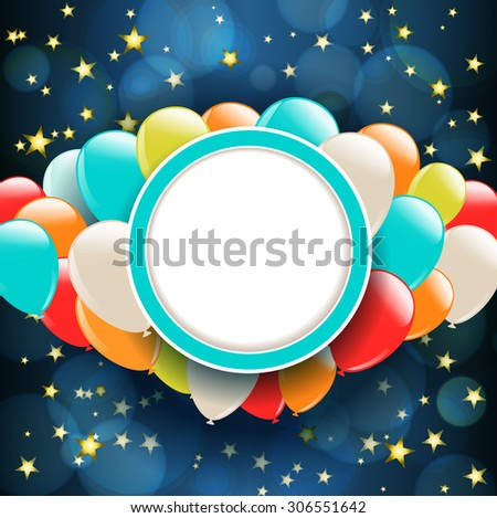 background with stars and balloons - stock photo