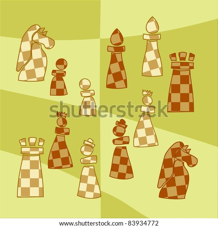 background with stylized chess pieces - stock photo