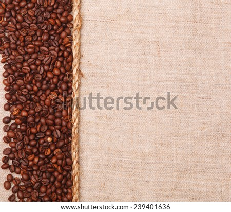 background with texture of burlap ,coffee beans - stock photo