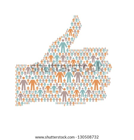 "Background with the hand of thumbs up symbol, which is composed of people colorful icon. Abstract illustration with silhouettes of person and sign ""well"". Social media concept for web, print template - stock photo"