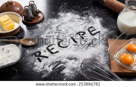 background with the ingredients for a cake - stock photo