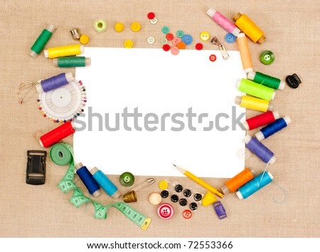 Background with threads and buttons - stock photo