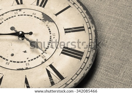 background with vintage clock on a sackcloth surface