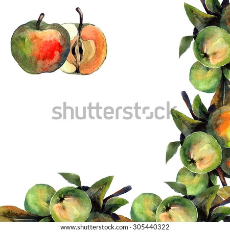 Background with watercolor painted apples