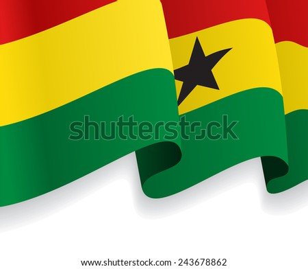 Background with waving Ghana Flag. Raster version
