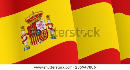 Background with waving Spanish Flag. Raster version - stock photo