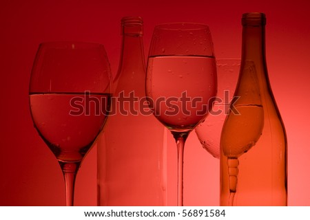 Background with wine glass and bottle