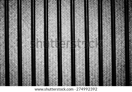 Backgrounds basketwork and handicraft of Thailand made it from bamboo and rattan with black and white color - stock photo