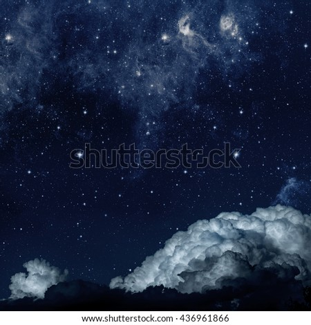 backgrounds night sky with stars and clouds. Elements of this image furnished by NASA - stock photo