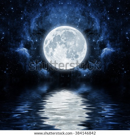 backgrounds night sky with stars, moon and clouds.  Elements of this image furnished by NASA - stock photo