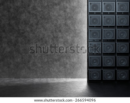 Backgrounds of guitar amps on the background of a concrete wall - stock photo