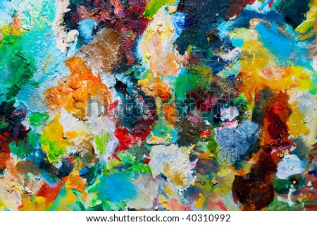 Backgrounds of painters palette, variegated oil color - stock photo