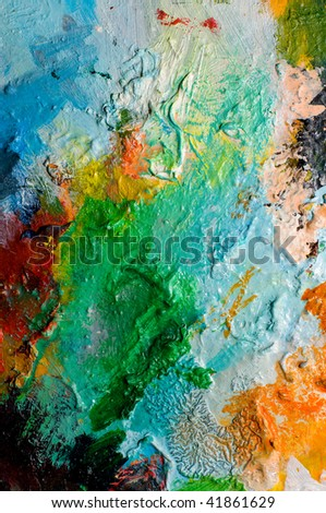 Backgrounds of painting oil color on palette - stock photo