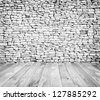 backgrounds wood texture and white brick wall in a room interior vintage - stock photo