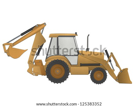 Backhoe loader form paper cut isolated on white