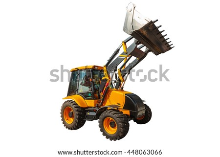 Backhoe loader or bulldozer - excavator isolated on white background with clipping path - stock photo
