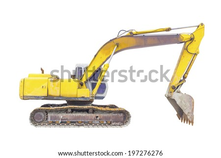 Backhoe or excavator machine isolated on white background. - stock photo